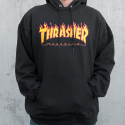쓰레셔(THRASHER) Flame Hood - Black