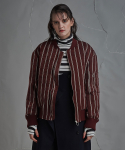 STRIPE BOMBER JACKET RED