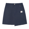 에이비로드(ABROAD) Unbalance Denim Skirt (blue)