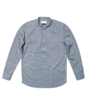 세컨무브(SECONDMOVE) MELANGE OXFORD TUNIC SHIRT_NAVY