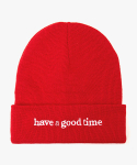 해브 어 굿 타임(HAVE A GOOD TIME) Side Logo Beanie - Red