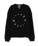 캄퍼씨(COMPATHY) [UNISEX]STAR CIRCLE SWEAT_BK