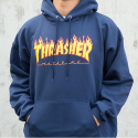 쓰레셔(THRASHER) Flame Hood - Navy