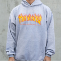 쓰레셔(THRASHER) Flame Hood - Grey