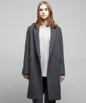 옴펨(HOMFEM) Minimal half double coat_Charcoal