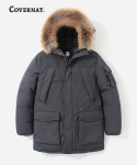 커버낫(COVERNAT) DUCK DOWN WOLVERINE PARKA MID-LONG CHARCOAL GRAY