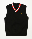 미나브() [UNISEX]TOUCAN POINT RIP SLEEVELESS BLACK