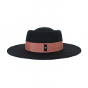 어썸니즈(AWESOME NEEDS) WOOL FELT PORK PIE HAT_BLACK_indi pink strap