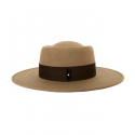 어썸니즈(AWESOME NEEDS) WOOL FELT PORK PIE HAT_BROWN_deep brown strap