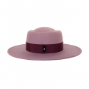 어썸니즈(AWESOME NEEDS) WOOL FELT PORK PIE HAT_LILAC PINK_burgundy strap