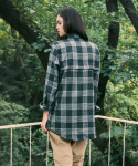 프레리() [UNISEX] GLEN CHECK LOOSE-FIT SHIRT(Green)