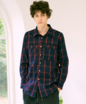 프레리() [UNISEX] SHADOW CHECK LOOSE-FIT SHIRT(Red)