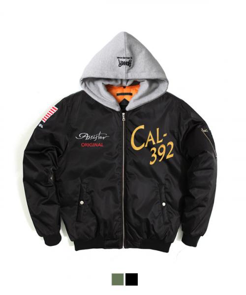 어커버_Hood Niddle Work MA-1 Padding Jacket