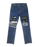 아임낫어휴먼비잉(I AM NOT A HUMAN BEING) The Legendary Out Patched Denim Jean - Blue