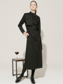 [16 WINTER] buckle strap trench long dress (black)