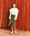 아오엠크(AOEMQ) [WINTER] BUTTON POINT WRAP SKIRT KHAKI