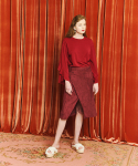 아오엠크(AOEMQ) BUTTON POINT WRAP SKIRT BURGUNDY