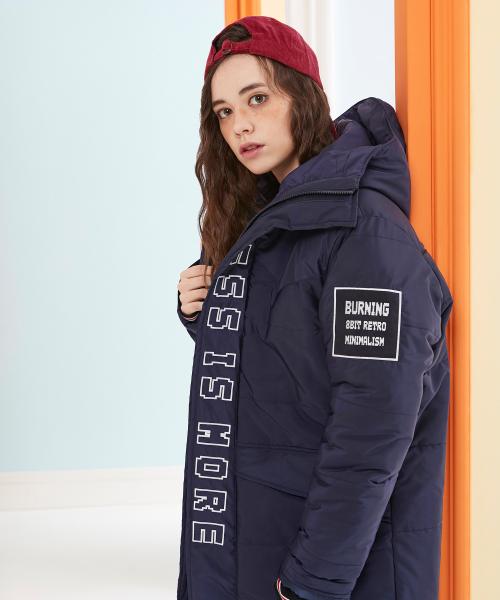버닝_Long Padded Jacket with Hood