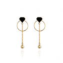 컨템포에이치(CONTEMPOH) Diamond with half pearl drop earrings (gold)