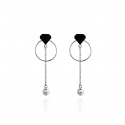 Diamond with half pearl drop earrings (silver)