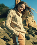 언아웃핏(AOTT) UNISEX AOTT LONG TURTLE CABLE KNIT BEIGE