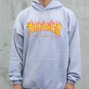 쓰레셔(THRASHER) THRASHER FLAME HOOD (GREY)