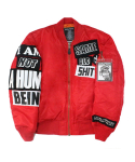 아임낫어휴먼비잉(I AM NOT A HUMAN BEING) The Legendary Out Patch MA-1 Jacket - Red