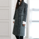 블락(BLAK) TWOTON CHECK LONG COAT