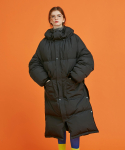 어나더에이() long side snap duck down jacket (black)