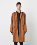 SUEDE FUR COLLAR COAT-RUST