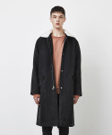 SUEDE FUR COLLAR COAT-BLACK