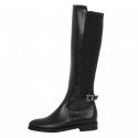 Buckle Detail Stretch Long Boots_Black