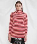 미니캡슐(MINI CAPSULE) Stripe turtleneck shirt (red)