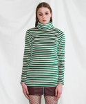 Stripe turtleneck shirt (green)