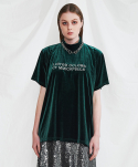 미니캡슐(MINI CAPSULE) Velvet 1/2 over sized shirt (deep green)
