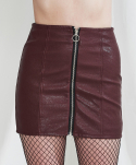 Faux leather zip-up skirt (wine)