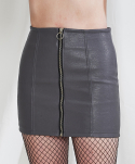 미니캡슐(MINI CAPSULE) Faux leather zip-up skirt (gray)