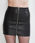 미니캡슐(MINI CAPSULE) Faux leather zip-up skirt (black)