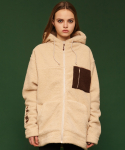 슬로우애시드(SLOW ACID) [unisex] Fleece hood zipup jacket (ivory)