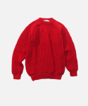 케리울른밀즈(KERRY WOOLLEN MILLS) FISHERMAN RIB CREW NECK RED