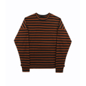 [FLAMEFLOWER] OVERFIT STRIPE T-SHIRTS (BROWN)