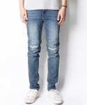 KNIFE QUILTED WASHED JEANS