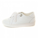 Eyelet Snake-Print Leather Sneakers_White