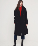 에번라포레() [UNISEX] OVERSIZED DOUBLE LONG COAT(BLACK)