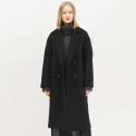 룩캐스트(LOOKAST) PREMIUM BLACK LONG DOUBLE COAT