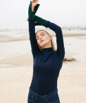 NAVY GREEN RIB KNITTED TOP