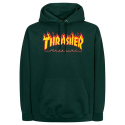 쓰레셔(THRASHER) THRASHER FLAME LOGO HOOD (FOREST GREEN)