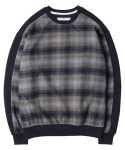 모디파이드() M#1113 check sweat crewneck (navy)