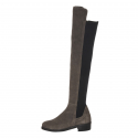 Basic Stretch Over-The Knee Boots_Suede_Grey