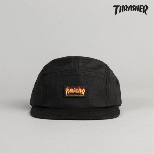 쓰레셔(THRASHER) 트레셔 FLAME LOGO 5-PANEL HAT 캠프캡 블랙 - 59 9e64860f3b7